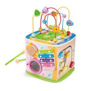 Cubo Di Attivit Giocattoli Di Legno Gioco Di Cubo Di Apprendimento Del Branello Del Filo Del Labirinto Gioco Del Centro Di Gioco Del Centro 5 In 1 Per Il Regalo Dei Bambini 0