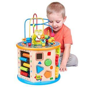 Elover Cubo Di Attivit Giochi Legno Bambini 8 In 1 Cubo Da Gioco Labirinto Di Perle Giocattolo Educativi Bambini Regali Di Natale Compleanno 0