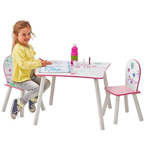 Tavolo per bambini con sedie di fiori e uccelli in legno ...
