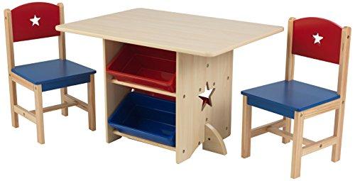KidKraft - Set tavolo con due sedie stella in legno con contenitori rosso e  blu