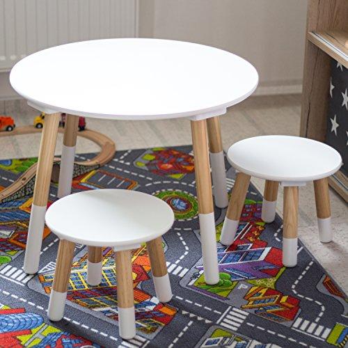 Set con tavolino rotondo e sedie in legno bianco Giochi In