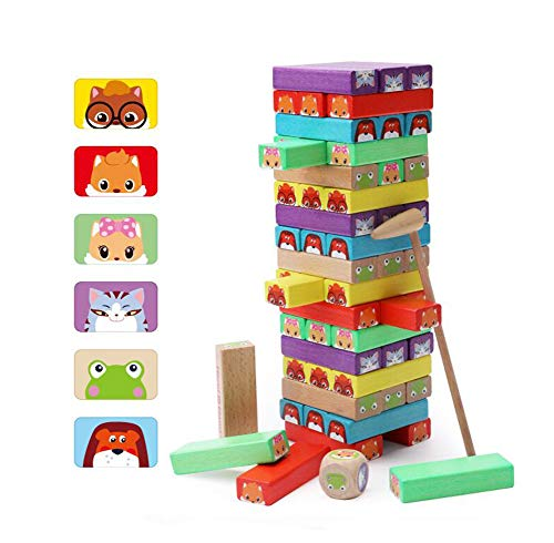 Lewo Di Legno Blocchi Colorato Torre Impilabile Giochi Da Tavolo 54 Pezzi Per Bambini Et 3 E Fino 0
