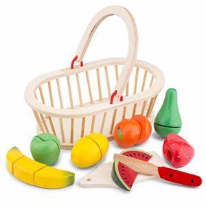 New Classic Toys 0588 Cesto In Legno Con Frutta Tagliabile 9 Pz 0