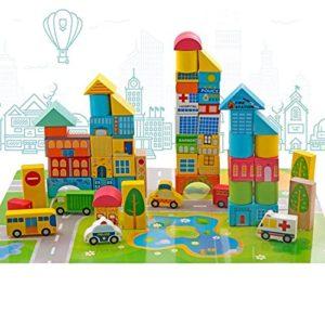 Onshine 62 Pezzi In Legno Mattoncini Per Costruzioni Blocchi Giocattolo Educativi Per Bambini 0