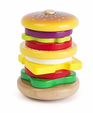 Small Foot Hamburger Da Impilare In Legno Certificato Fsc 100 Gioco Ad Incastro Con Divertente Funzione E Movimento Traballante E Vari Ingredienti Da Assemblare Allena La Creativit E Le Capacit Motori 0
