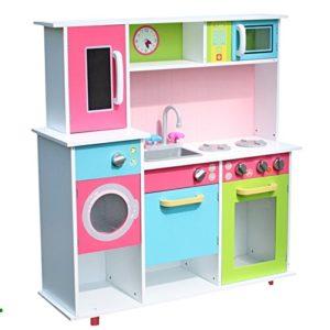 Tiktaktoo Cucina Giocattolo Xxl Per Bambini In Legno Con Forno Lavello Forno Microonde Lavatrice E Stoviglie Colore Bianco 0