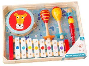 Tooky Toy Set Di Strumenti Musicali Maracas Tamburello Flauto E Xilofono 0