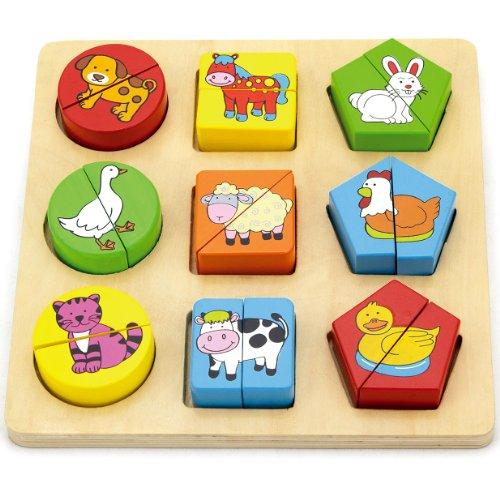 Viga Gioco Puzzle Con Blocchetti In Legno Animali Della Fattoria 0