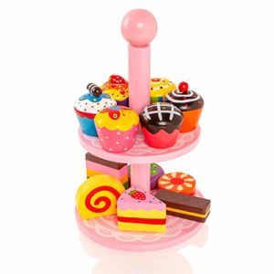 Viga Wooden Cupcakes With Pretty Pink Stand 59893 By Viga Toys 0 1