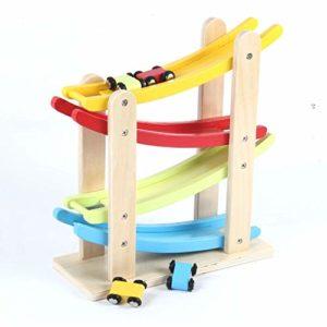 Bjulian Auto Pista 4 Livelli Con 4 Auto Naturale Legno Colorato Per Bambini Dai 1 Anno 0