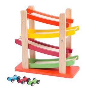 Bakaji Pista A Torre Con 3 Macchine In Legno Garage Auto Slop Tower Gioco Per Bambini 0