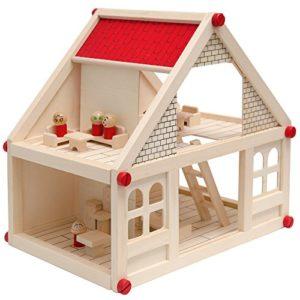Casa Delle Bambole A Due Piani In Legno Naturale Incl Mobili 4 Personaggi Casetta In Miniatura Facile Da Montare 0