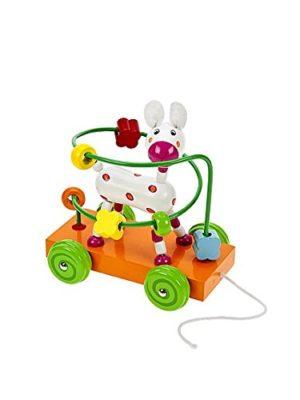 Giocattolo Da Tirare In Legno A Forma Di Cane Con Labirinto Con Palline Giocattolo In Legno Per Bambini 0