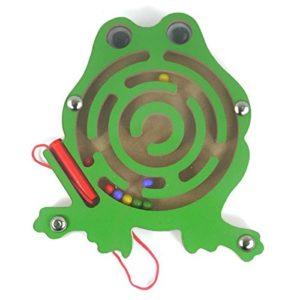 Happytoy Mini Animal Round Legno Magnetico Bacchetta Numero Labirinto Interattivo Labirinto Perline Magnete Maze Sulla Scheda Del Gioco Citt Di Traffico Eduactional Artigianato Giocattoli Rana 0