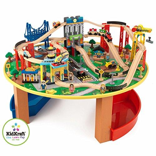 Kidkraft 17985 Set Treno E Tavolo Giocattolo In Legno Per Bambini City Explorer Con 80 Pezzi Inclusi 0