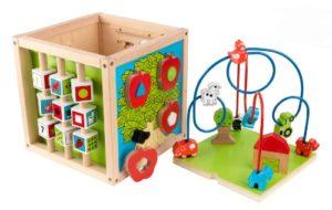 Kidkraft 63243 Giocattolo Educativo In Legno Per Bambini Cubo Labirinto Di Perline Didentificazione Di Forme Colori Numeri E Lettere 0