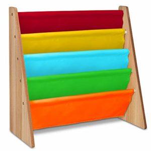 Livivo Scaffale In Legno Per Bambini Con Tasche Di Facile Accesso In Morbido Tessuto Di Nylon Per Proteggere I Libri Dellaltezza Perfetta Per I Piccoli Lettori Multi Colour 0