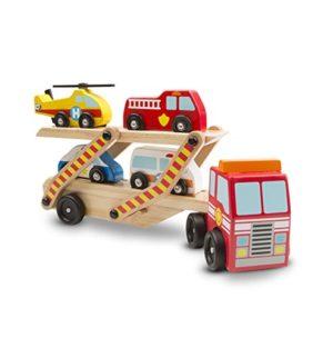 Melissa Doug Trasportatore Emergenza In Legno Con 1 Camion E 4 Veicoli Di Salvataggio Bisarca 14610 0