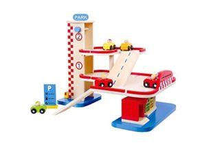Tooky Toy Garage In Legno Con Stazione Di Servizio Parcheggio Con 2 Piani E 6 Veicoli Giocattolo Educativo Da 3 Anni 0