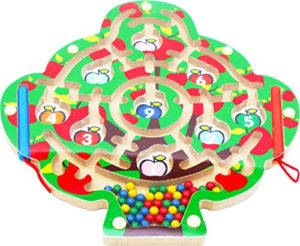 Toys Of Wood Oxford Albero Di Mele Magnetico Puzzle Del Labirinto Con 2 Penne Magnetici E Perline Colorate Per 3 Anni In Pi 0