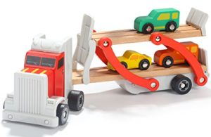 Toys Of Wood Oxford Carrier Portacontainer In Legno Camion Transporter Con Rimorchio A Ponte E 4 Auto In Legno Legno Per Bambini 0