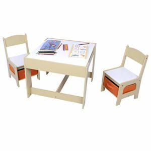 Woltu Sg002 Set Mobili Con Lavagna Contenitore Tavolo E Sedie Bambini Gioco Tavolino Con 2 Sgabelli Soggiorno In Legno 0