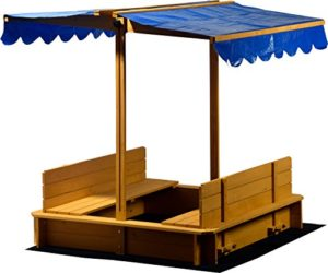 Dobar 94357 Fsc Sabbiera Con Tetto Rimovibile Orientabile Panche Pavimento Plane Verschliessbare Sand Scatola In Legno Per Bambini 120 X 120 Cm Colore Marrone Chiaro 0