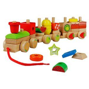Yoptote Legno Geometriche Blocchi Dei Treni Costruzione Stacking Kit Di Montaggio Giocattolo Tirare Lungo Puzzle Per Bambini 3 Anni 0