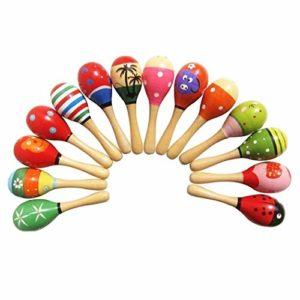 4pcs Giocattoli Per Bambini Piccoli Maracas In Legno Agitatori Sonori Egg Handbell Musicale Educativo Del Partito Favore Kid Baby Shaker Sand Hammer Giocattolo Colore Casuale 0