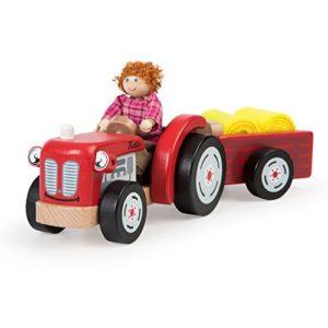 Bigjigs Toys T0502 In Legno Trattore E Rimorchio Con Fieno 0
