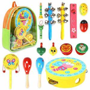 Crzko Strumenti Musicali Per Bambini 15 In 1 Giocattolo Per Bambini Set Di Percussioni Per Bambini E Bambine Regali Di Compleanno Con Borsa Per Trasporto Con Cerniera 0