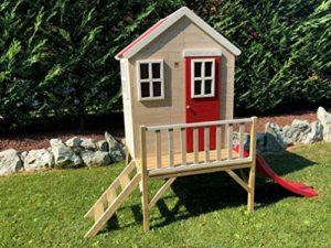 Di Legno Casa Per Bambini Su Piattaforma Per Esterno Giardino Nordico Tipo Chiuso Casetta Con Finestre Porte Scaletta Scivolo 0 0