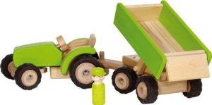 Goki 55941 Trattore Con Rimorchio In Legno Colore Verde 0