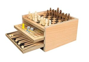 Invero Deluxe Classic Wooden 7 In 1 Fun Family Games Set Includes Chess Draughts Ludo Snakes And Ladders Noughts And Crosses Backgammon And Chinese Checkers 0
