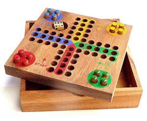 Logica Giochi Art Ludo Non Ti Arrabbiare Gioco Da Tavolo In Legno Teak 0