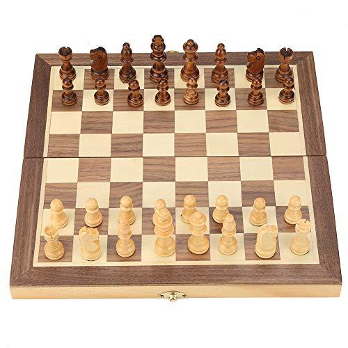 Scacchiera in Legno e Dama Gioco Chess Board Scacchiere Set Portatile Gioco da Viaggio per Adulti Bambini 2 in 1 Scacchi Professionale