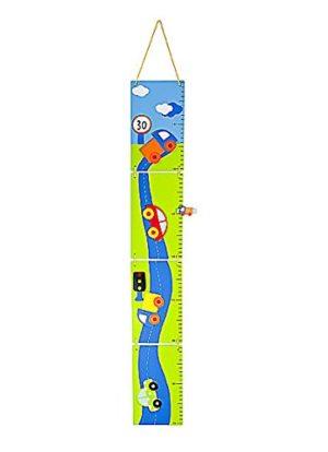Metri Da Parete Righello Di Altezza Grafico Di Crescita In Legno A Tema Auto Azzurra Per Camera Dei Bambini 0