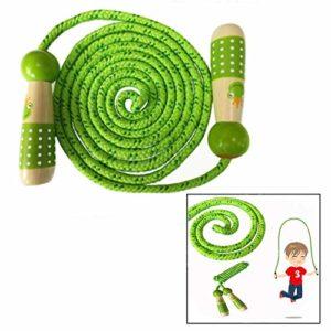 Ofkpo Salto Della Corda Per Bambini Regolabile Corda Saltare Bambini Cotone Corda Per Saltare Manico Legno Verde 0
