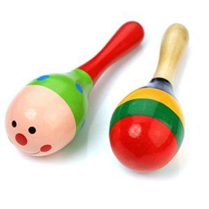 Tinksky 2pcs 115 Cm Bambini Funny Kids In Legno Maracas Sonaglio Giocattoli Educativi Musicali Shakers Colore Casuale 0
