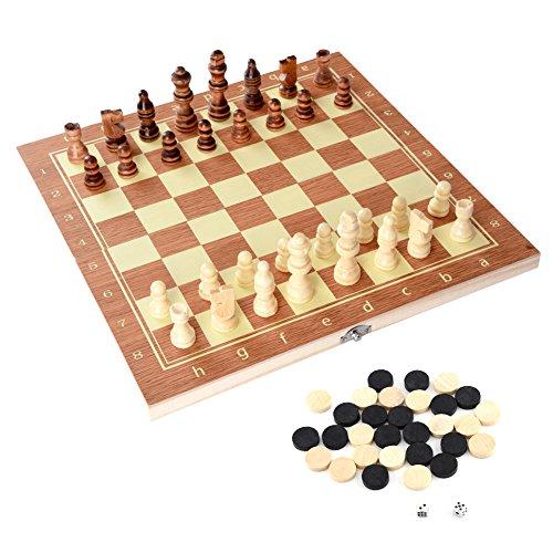 Vgeby Scacchi Dama E Backgammon In Legno Con Confezione Portatile 3 In 1 Scacchiera Standard Pieghevole Gioco Intelligente 34 X 34 Cm 0