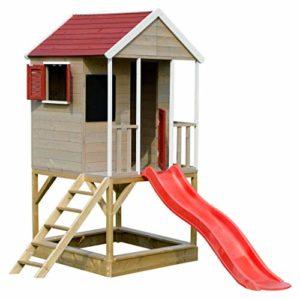 Wendi Toys Casetta Per Bambini In Legno Sulla Piattaforma Casa Di Avventura Estiva Per Bambini Con Scivolo Scala Balcone Scaffale Giocattolo Tapparelle Lavagna 0