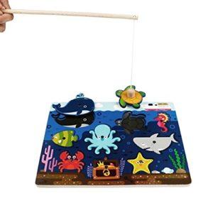 Jerryvon Gioco Pesca Magnetica Legno Gioco Di Pesca Con Ocean Animale Magneti Per Bambini 3 Anni 0