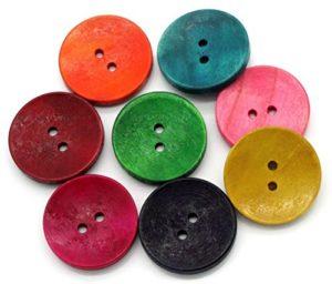 Sadingo Bottoni In Legno 50 Pezzi 3 Cm Mix Colorato Rosso Verde Giallo Blu Rosa Grandi Bottoni Set Da Cucito E Fai Da Te 0