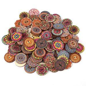 100 Pezzi Modello Misto Bottoni In Legno Vintage Con 2 Fori Per Cucito Fai Da Te Decorativo 25mm 0
