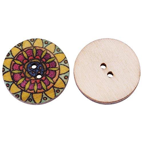 100 pezzi di bottoni misti in legno vintage con 2 fori per cucito fai da te decorativo 25mm