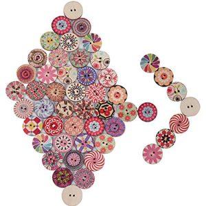 200 Pz Bottoni Colorati Decorativi In Legno Stampa Misti Assortiti Floreale Per Cucito Fai Da Te Dia 20mm 0