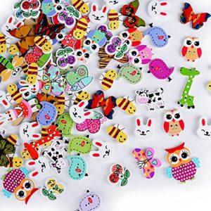 Aoner 100 Pz Bottoni Animali Legno Natalizio Assortiti Per Decorazioni Cucito Fai Da Te Scrapbooking Artigianato Bricolage Natale 0