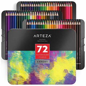 Arteza Matite Colorate Acquerellabili Set Da 72 Pezzi Multicolore Scatola In Latta Matite Da Disegno Professionali Ideali Per Sfumare E Stratificare Per Principianti Ed Esperti 0