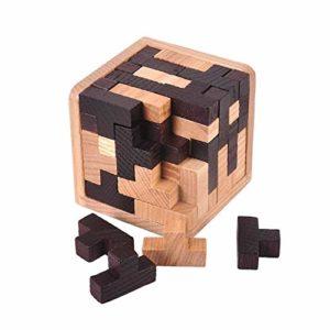 Gobus 54 Pezzi Puzzle In Legno Rompicapo T Forma Blocchi Di Costruzione Puzzle Geometrico Giocattolo Educativo In Bianco E Nero Per Bambini Adulti 0