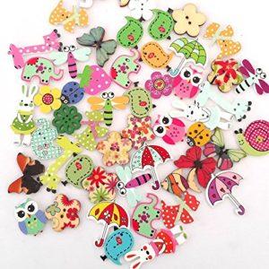 Mkishine 100 Pz Coloratissimi Bottoni Legno Decorativi Natalizio Assortiti Per Decorazioni Cucito Fai Da Te Per Natale Decorazioni Biglietti Complementi Di Oggetti Fai Da Te Ecc 0